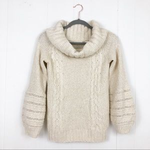 Anthropologie NWT Cream Chunky Sweater Small